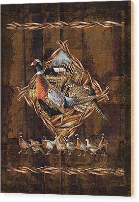 Pheasant Lodge Wood Print by JQ Licensing