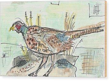 Pheasant Wood Print by Matt Gaudian
