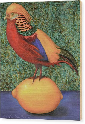 Pheasant On A Lemon Wood Print by Leah Saulnier The Painting Maniac