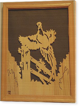 Pheasant Taking Off Wood Print by Russell Ellingsworth