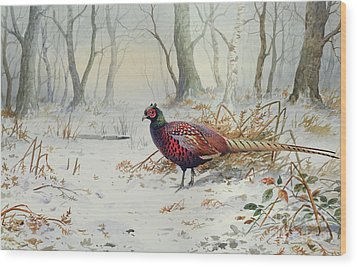 Pheasants In Snow Wood Print by Carl Donner