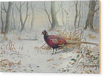 Pheasants In Snow Wood Print