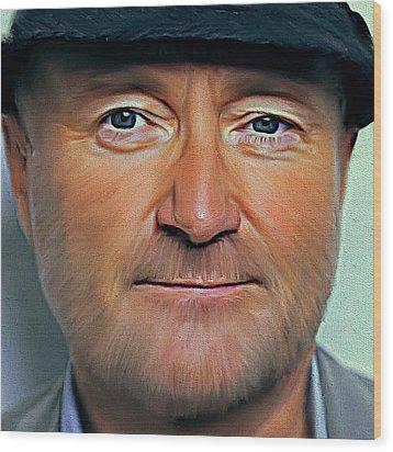 Phil Collins Portrait Genesis 11 Wood Print