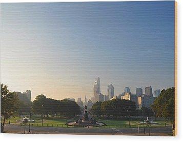 Philadelphia Across Eakins Oval Wood Print by Bill Cannon