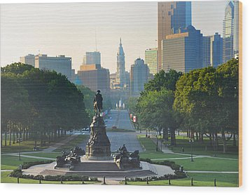Philadelphia Benjamin Franklin Parkway Wood Print by Bill Cannon