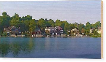 Philadelphia Boat House Row Wood Print by Bill Cannon