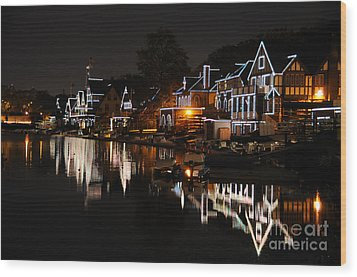Philadelphia Boathouse Row At Night Wood Print by Gary Whitton