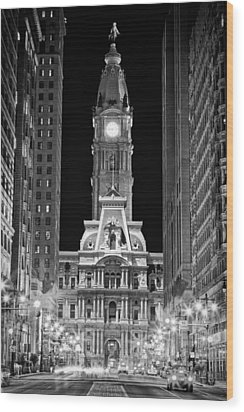 Philadelphia City Hall At Night Wood Print by Val Black Russian Tourchin