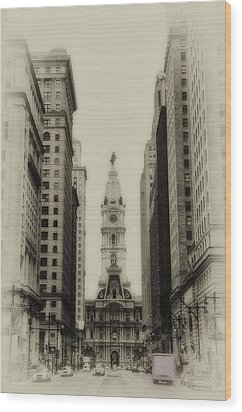 Philadelphia City Hall From South Broad Street Wood Print by Bill Cannon