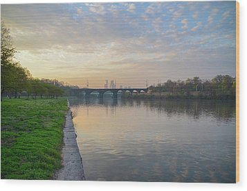 Wood Print featuring the photograph Philadelphia Cityscape From The Schuylkill In The Morning by Bill Cannon