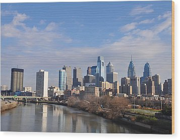 Philadelphia From The South Street Bridge Wood Print by Bill Cannon