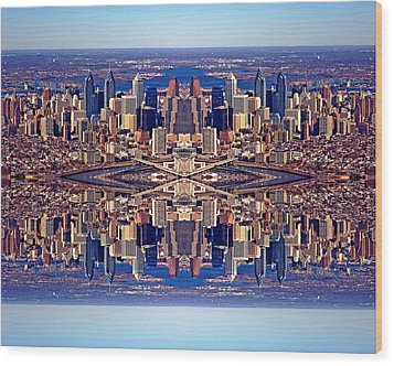 Philadelphia Geometric Collage Wood Print by Duncan Pearson