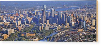 Philadelphia Museum Of Art And City Skyline Aerial Panorama Wood Print