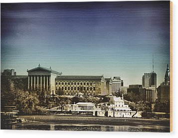 Philadelphia Museum Of Art And The Fairmount Waterworks From West River Drive Wood Print by Bill Cannon