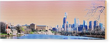 Philadelphia Panoramic Wood Print by Bill Cannon