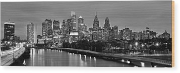 Wood Print featuring the photograph Philadelphia Philly Skyline At Dusk From Near South Bw Black And White Panorama by Jon Holiday