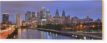 Wood Print featuring the photograph Philadelphia Philly Skyline At Dusk From Near South Color Panorama by Jon Holiday