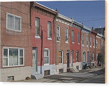 Philadelphia Row Houses Wood Print by Brendan Reals