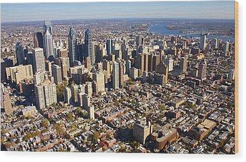 Philadelphia Skyline Aerial Graduate Hospital Rittenhouse Square Cityscape Wood Print by Duncan Pearson