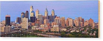 Philadelphia Skyline At Dusk Sunset Pano Wood Print by Jon Holiday