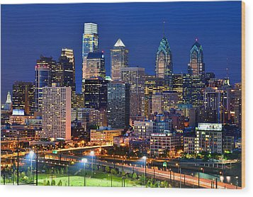 Philadelphia Skyline At Night Wood Print by Jon Holiday