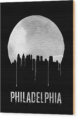 Philadelphia Skyline Black Wood Print by Naxart Studio