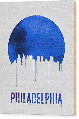 Philadelphia Skyline Blue Wood Print by Naxart Studio