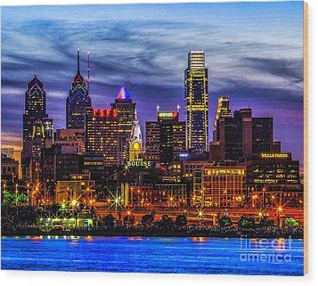 Wood Print featuring the photograph Philadelphia Skyline by Nick Zelinsky