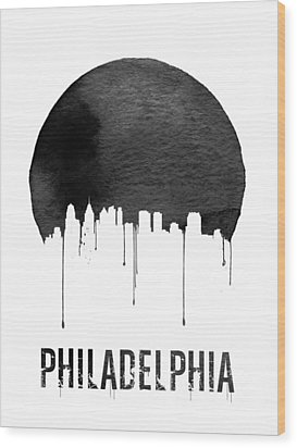 Philadelphia Skyline White Wood Print by Naxart Studio