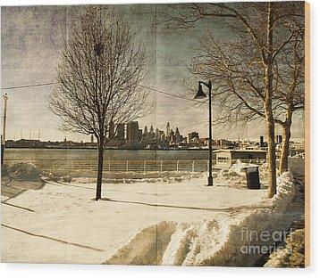 Philadelphia Snowscape Wood Print by Milton Brugada