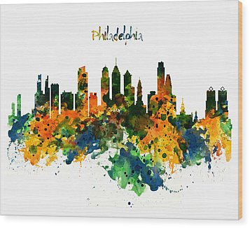 Philadelphia Watercolor Skyline Wood Print