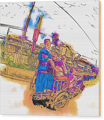 Philippine Family Tricycle Wood Print by Rolf Bertram