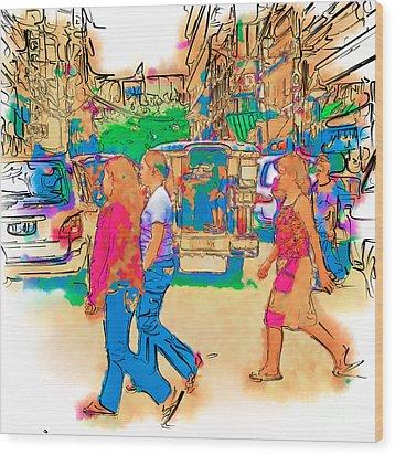 Philippine Girls Crossing Street Wood Print by Rolf Bertram