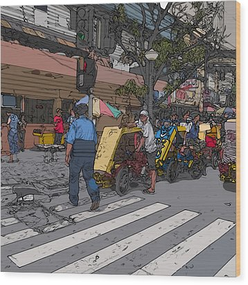 Philippines 906 Crosswalk Wood Print by Rolf Bertram