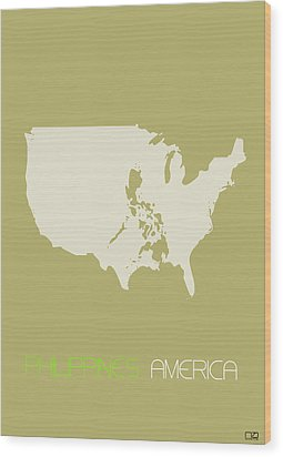 Philippines America Poster Wood Print by Naxart Studio