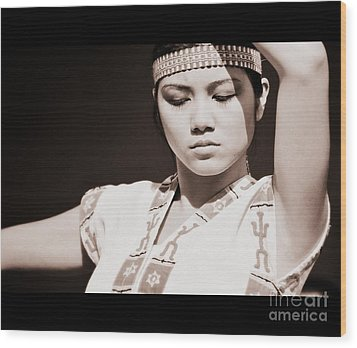 Philippino Dancer Wood Print by Chris Dutton