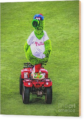 Phillie Phanatic Scooter Wood Print