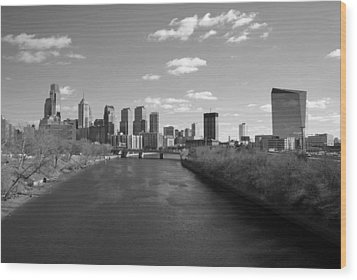 Philly B/w Wood Print by Jennifer Ancker