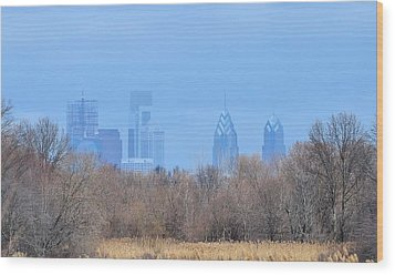 Philly From Afar Wood Print by Kathy Eickenberg