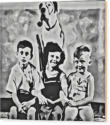 Philly Kids With Petey The Dog Wood Print