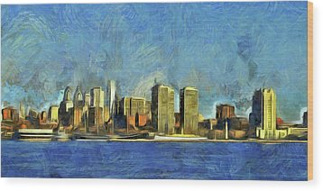 Wood Print featuring the mixed media Philly Skyline by Trish Tritz