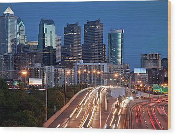 Wood Print featuring the photograph Philly Skyline With Highways by Matthew Bamberg