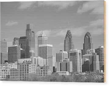 Philly Skyscrapers Black And White Wood Print by Jennifer Ancker