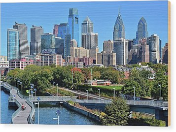 Wood Print featuring the photograph Philly With Walking Trail by Frozen in Time Fine Art Photography