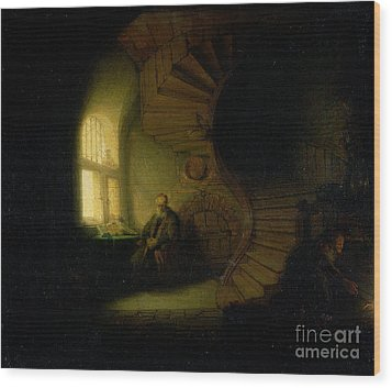 Philosopher In Meditation Wood Print by Rembrandt