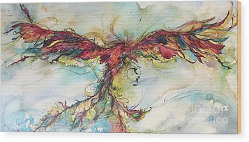 Wood Print featuring the painting Phoenix Rainbow by Christy Freeman