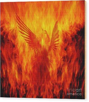 Phoenix Rising Wood Print by Andrew Paranavitana