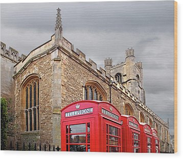 Wood Print featuring the photograph Phone Home - Gt St Marys Church Cambridge by Gill Billington