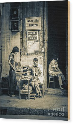 Wood Print featuring the photograph Phonecall On Chinese Street by Heiko Koehrer-Wagner