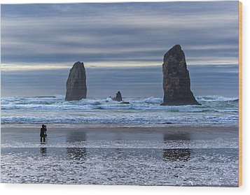 Photographer At Cannon Beach Wood Print by David Gn